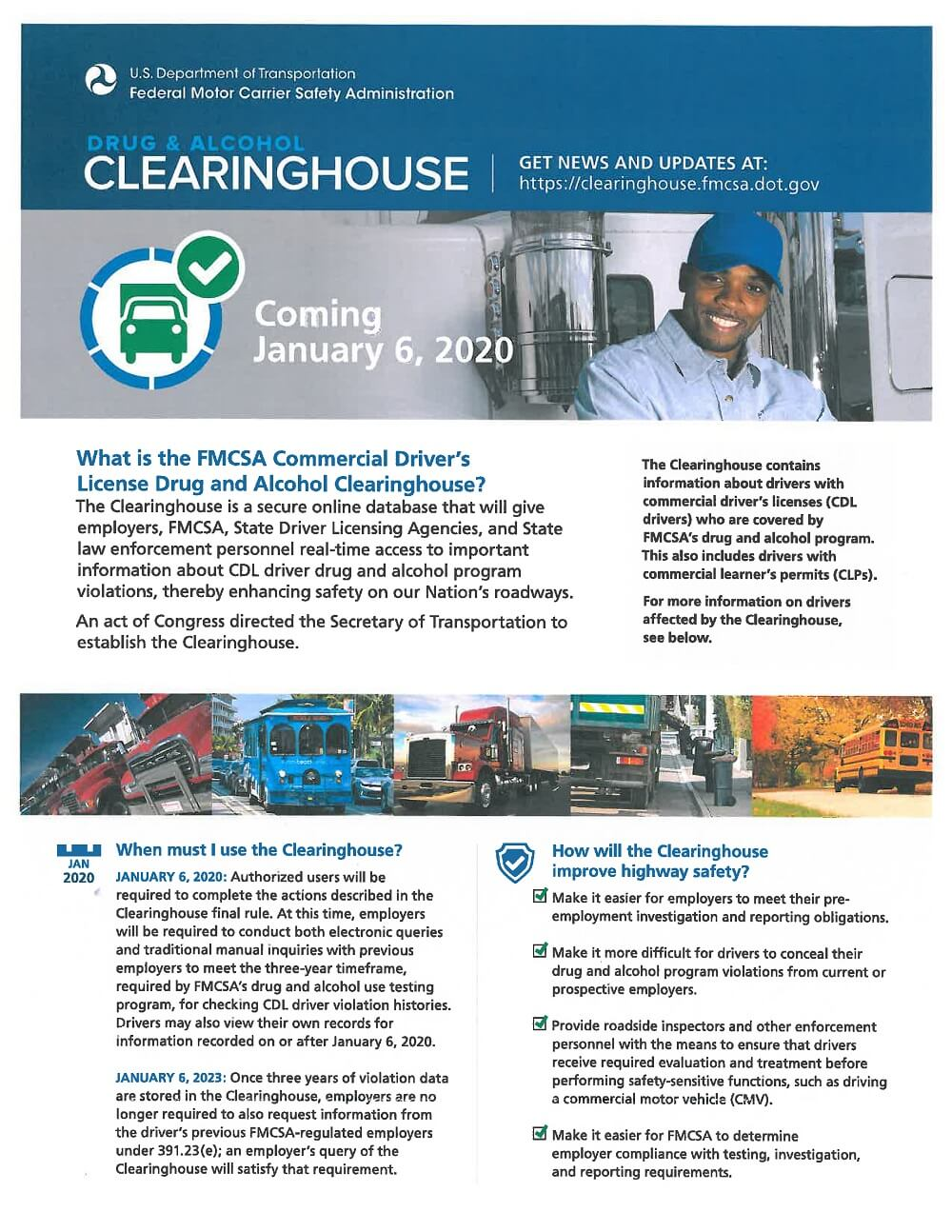 FMCSA Clearinghouse Requirement Flyer 1 of 2