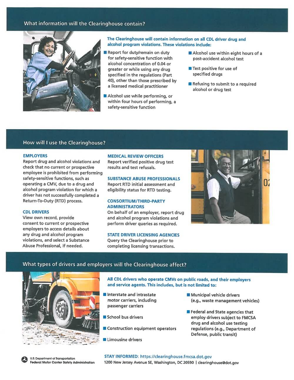 FMCSA Clearinghouse Requirement Flyer 2of 2